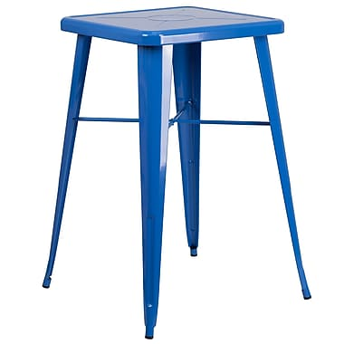 Flash Furniture 24'' Square Metal Indoor-Outdoor Bar Height Table in Blue (CH31330BL)