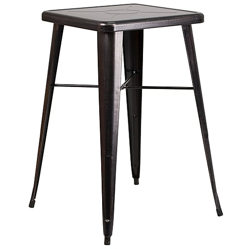 """Flash Furniture Square Metal Indoor/Outdoor Bar-Height Table, 27.75"""" x 27.75"""", Black/Antique Gold (CH31330BQ)"""