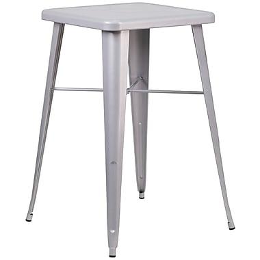 Flash Furniture – Table de bar carrée de 24 po en métal, intérieur/extérieur, argenté (CH31330SIL)