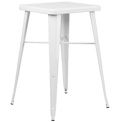 Flash Furniture 24'' Square Metal Indoor/Outdoor Bar-Height Table, White (CH31330WH)