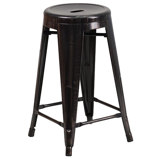 Flash Furniture 24''H Backless Indoor/Outdoor Counter Height Stool, Black/Antique Gold Metal, Round Seat (CH3135024BQ)