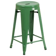 Flash Furniture 24''H Backless Metal Indoor/Outdoor Counter-Height Stool with Round Seat, Green (CH3135024GN)