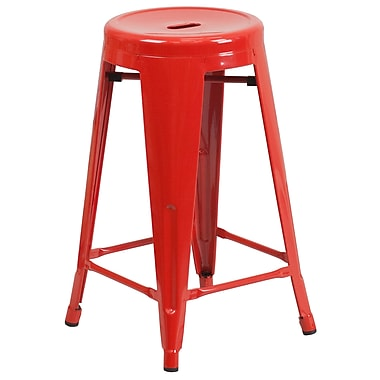 Flash Furniture – Tabouret de comptoir de 24 po en métal sans dossier, int/ext, siège rond, rouge (CH3135024RED)