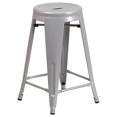 Flash Furniture 24'' High Backless Silver Metal Indoor-Outdoor Counter Height Stool with Round Seat (CH3135024SIL)