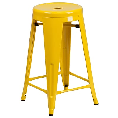 Flash Furniture 24'' High Backless Yellow Metal Indoor/Outdoor Counter Height Stool with Round Seat (CH3135024YL)