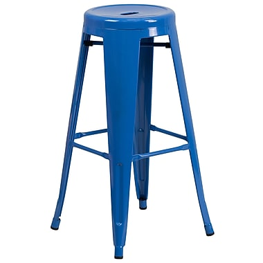 Flash Furniture 30'' High Backless Blue Metal Indoor-Outdoor Barstool with Round Seat (CH3135030BL)