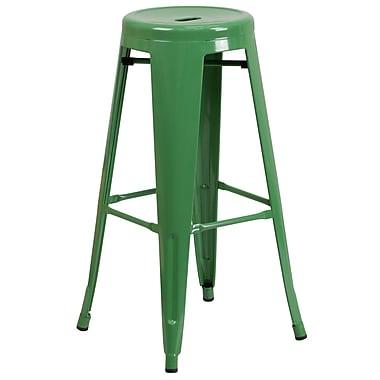 Flash Furniture – Tabouret bistro de 30 po, métal, sans dossier, in/ex, siège rond, vert fini poudré, 4/bt (CH3135030GN)