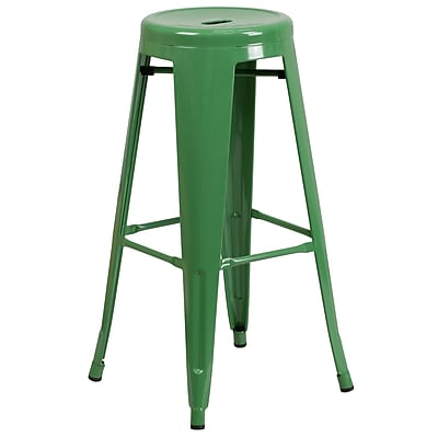 Flash Furniture 30'' High Backless Metal Indoor-Outdoor Barstool with Round Seat (CH3135030GN)