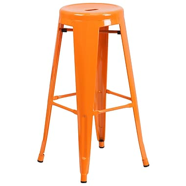 Flash Furniture 30''H Backless Metal Indoor/Outdoor Barstool with Round Seat, Orange (CH3135030OR)