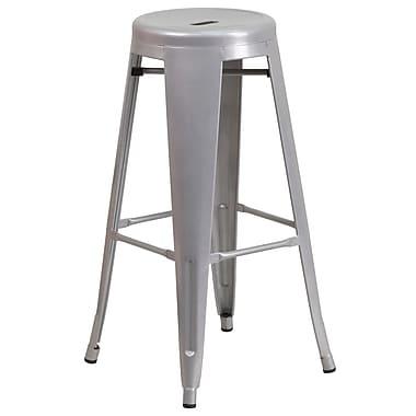 Flash Furniture – Tabouret bistro de 30 po en métal sans dossier, int/ext, siège rond, argenté (CH3135030SIL)