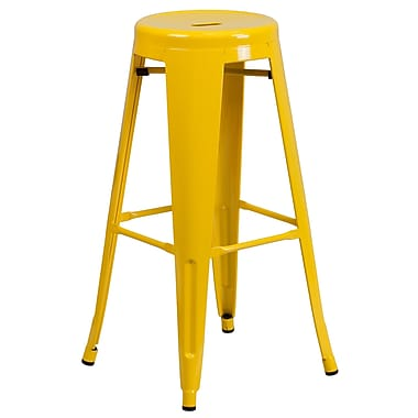 Flash Furniture 30'' High Backless Metal Indoor-Outdoor Barstool with Round Seat, Yellow Finish, (CH3135030YL)