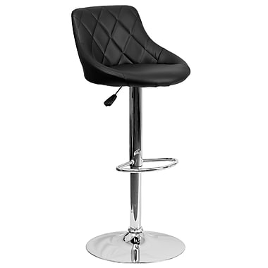 Flash Furniture Adjustable-Height Contemporary Vinyl Bucket Seat Barstool, Black with Chrome Base (CH82028ABK)