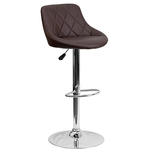 Flash Furniture Contemporary Adjustable-Height Barstool, Brown Vinyl Bucket Seat, Chrome Base (CH82028ABRN)