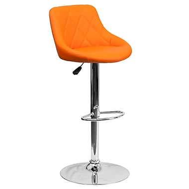 Flash Furniture Adjustable-Height Contemporary Orange Vinyl Bucket Seat Barstool with Chrome Base (CH82028AORG)