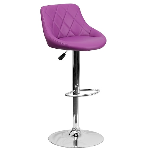 """Flash Furniture 32"""" Contemporary Purple Vinyl Bucket Seat Adjustable Height Barstool with Chrome Base (CH82028APUR)"""