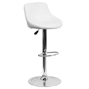 Flash Furniture – Tabouret de bar ajustable à siège baquet en vinyle blanc et à pied chromé (CH82028AWH)
