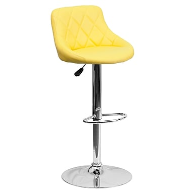 Flash Furniture Adjustable-Height Contemporary Bucket Seat Barstool, Yellow Vinyl, Chrome Base (CH82028AYEL)