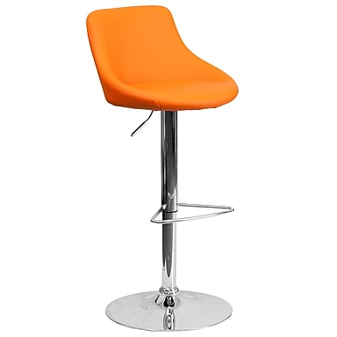Flash Furniture Contemporary Orange Vinyl Bucket Seat Adjustable Height Barstool with Chrome Base (CH82028MODORG)
