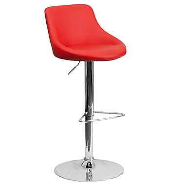 Flash Furniture Contemporary Red Vinyl Bucket Seat Adjustable Height Barstool with Chrome Base (CH82028MODRED)