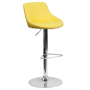Flash Furniture Adjustable-Height Contemporary Vinyl Bucket Seat Barstool, Yellow with Chrome Base (CH82028MODYEL)