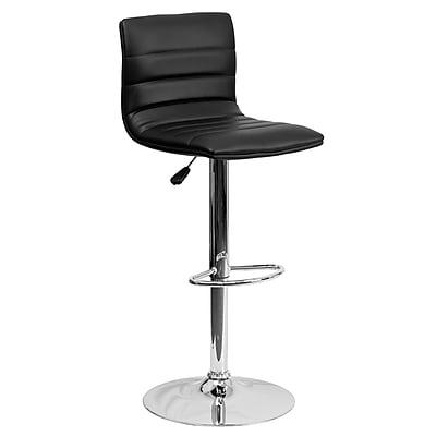 "Flash Furniture 33"" Contemporary Black Vinyl Adjustable Height Barstool w/Chrome Base (CH920231BK)"