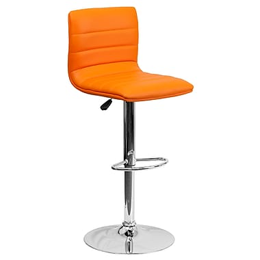Flash Furniture – Tabouret de bar contemporain et ajustable en vinyle orange et à pied chromé (CH920231ORG)