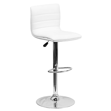 Flash Furniture Adjustable-Height Contemporary Vinyl Barstool, White with Chrome Base (CH920231WH)