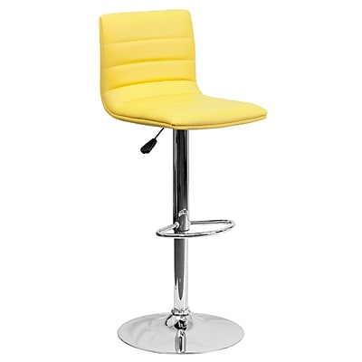 Flash Furniture Adjustable-Height Contemporary Vinyl Barstool, Yellow with Chrome Base (CH920231YEL)