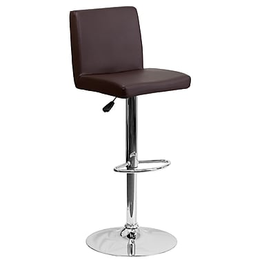 Flash Furniture – Tabouret de bar contemporain et ajustable en vinyle brun et à pied chromé (CH92066BRN)