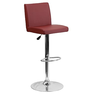 Flash Furniture Adjustable-Height Contemporary Vinyl Barstool, Burgundy with Chrome Base (CH92066BURG)