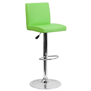 Flash Furniture Adjustable-Height Contemporary Vinyl Barstool, Green with Chrome Base (CH92066GRN)