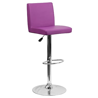 Flash Furniture Adjustable-Height Contemporary Vinyl Barstool, Purple with Chrome Base (CH92066PUR)