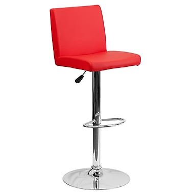Flash Furniture Adjustable-Height Contemporary Red Vinyl Barstool, Chrome Base (CH92066RED)