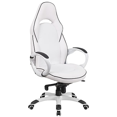 Flash Furniture CHCX0496H01 High Back White Vinyl Executive Swivel Office Chair with Black Trim