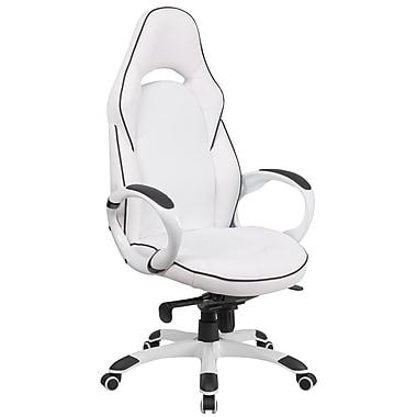 Flash Furniture – Fauteuil direction pivotant à dossier haut, vinyle blanc avec garnitures noires (CHCX0496H01)
