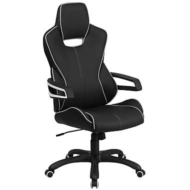 Flash Furniture – Fauteuil direction pivotant à dossier haut, vinyle noir avec garnitures blanches (CHCX0699H01)