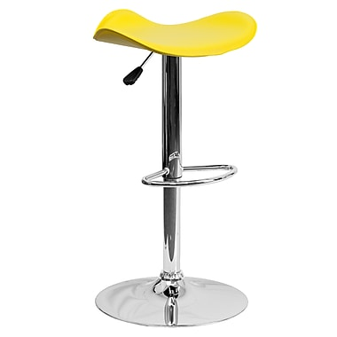 Flash Furniture – Tabouret de bar ajustable de 31,5 po en vinyle jaune et à pied chromé, 2/bte (CHTC31002YEL)