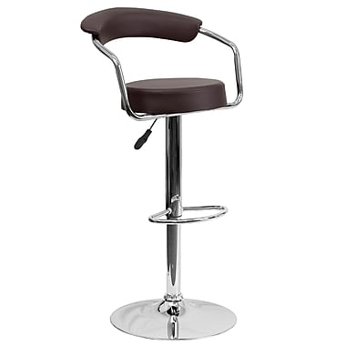 Flash Furniture – Tabouret de bar ajustable de 33,25 po en vinyle brun à accoudoirs et pied chromés, 2/bt (CHTC31060BRN)
