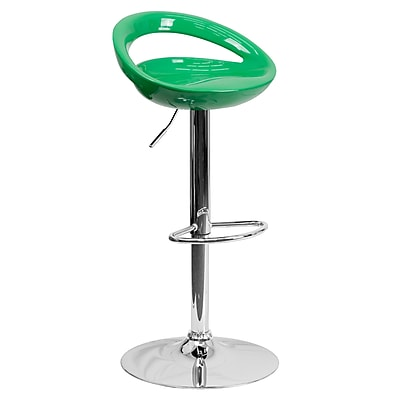 Flash Furniture Adjustable-Height Contemporary Plastic Barstool, Green with Chrome Base (CHTC31062GN)