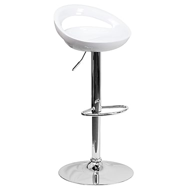 Flash Furniture Adjustable-Height Contemporary White Plastic Barstool, Chrome Base (CHTC31062WH)