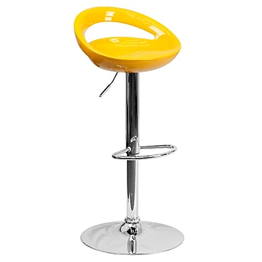 Flash Furniture – Tabouret de bar ajustable contemporain en plastique jaune et à pied chromé (DS801CONTYEL)