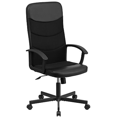 Flash Furniture High-Back Black Vinyl and Black Mesh Racing Executive Swivel Office Chair (CPA301A01BK)