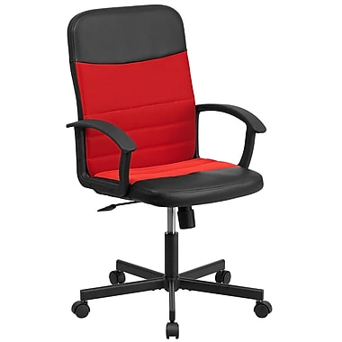 Flash Furniture CPB301A01BKRD Mid-Back Black Vinyl/Red Mesh Racing Executive Swivel Office Chair