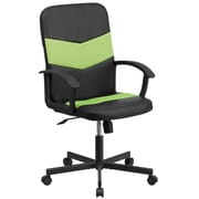 Flash Furniture CPB301C01BKGN Mid-Back Black Vinyl and Green Mesh Racing Executive Swivel Office Chair