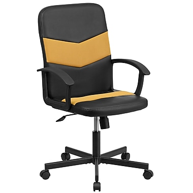 Flash Furniture – Fauteuil direction pivotant en vinyle noir et à dossier moyen en filet orange (CPB301C01BKOR)