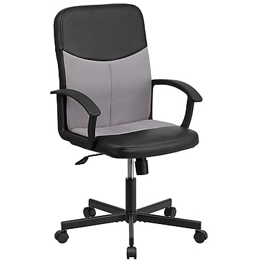 Flash Furniture CPB301E01BKGY Vinyl and Mesh Mid-Back Racing Executive Swivel Office Chair, Black and Light Gray