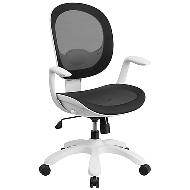 Flash Furniture Mid-Back Mesh Swivel Task Chair, Black with Seat Slider and Ratchet Back (CS55BK)