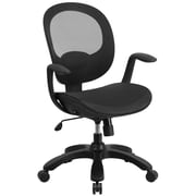 Flash Furniture Mid-Back Mesh Swivel Task Chair, Black with Seat Slider and Ratchet Back (CSYAPIBK)