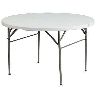 Flash Furniture – Table pliante ronde de 48 po à 2 battants en plastique blanc (DAD122RZ)