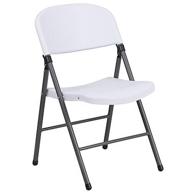Flash Furniture – Chaise pliante en plastique HERCULES, capacité de 330 lb, blanc avec tubulure anthracite (DADYCD50WH)